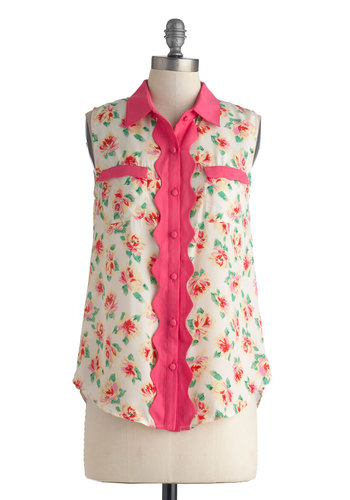 Garden Melody Top - Pink, Yellow, Green, White, Floral, Buttons, Pockets, Scallops, Sleeveless, Daytime Party, Mid-length, Tan / Cream, Casual, Button Down, Spring, Summer, Collared