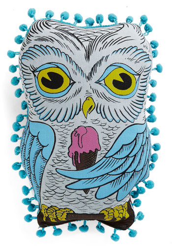Hoot Wants Ice Cream? Pillow - Cotton, Multi, Owls, Print with Animals, Trim, Good, Woodland Creature