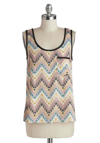 To Etch Their Own Top - Mid-length, Multi, Chevron, Pockets, Casual, Beach/Resort, Tank top (2 thick straps), Summer, Scoop