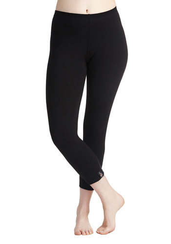 Simple and Sleek Capri Leggings - Black, Solid, Casual, Minimal, Skinny, Basic, 90s