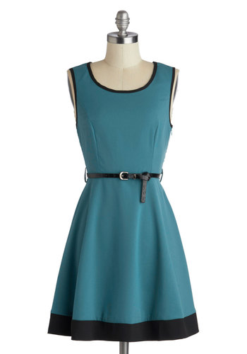 Flight of Fancy Dress in Teal - Short, Blue, Black, Bows, Belted, Party, A-line, Sleeveless, Scoop, Solid, Trim, Work