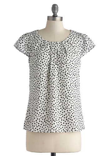 Steal the Show Top in Dots - Mid-length, Black, White, Polka Dots, Exposed zipper, Work, Casual, Short Sleeves, Scoop, White, Short Sleeve