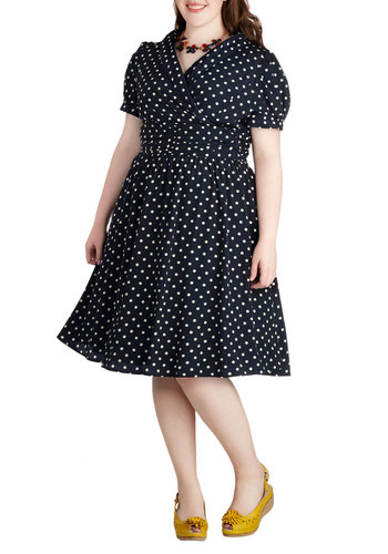 Conversation over Cocktails Dress in Navy - Plus Size - Blue, White, Polka Dots, Shirt Dress, Short Sleeves, V Neck, Pockets, Party, Daytime Party, Vintage Inspired, Variation, Ruching, Exclusives