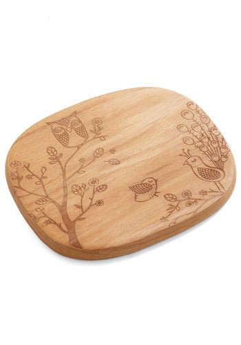 Creature Comfort Foods Cheese Board in Birds - Tan, Print with Animals, Eco-Friendly, Owls, Good, Wedding