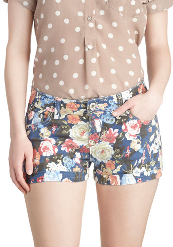 Shorts and Sweet - Denim, Multi, Blue, Floral, Pockets, Casual, Summer