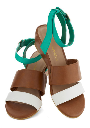Cabin Bash Wedge - Multi, Beach/Resort, Colorblocking, Summer, Mid, Wedge, Green, Brown, White, Solid, Daytime Party, Faux Leather