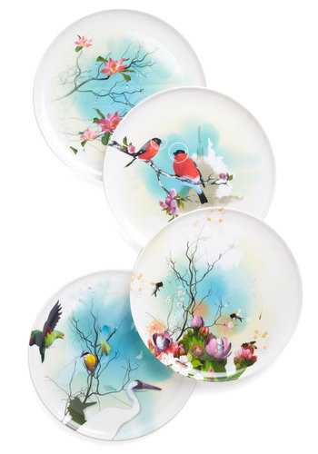 Fantastic Fleur Plate Set - Multi, White, Print with Animals, Vintage Inspired