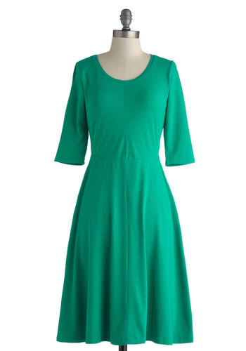 Emerald Cityscape Dress - Cotton, Long, Green, Solid, Casual, A-line, Short Sleeves, Scoop, Minimal, Fall, Good