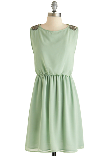Embellished Afternoon Dress - Mid-length, Mint, Solid, Beads, Rhinestones, Party, A-line, Sleeveless, Crew, Exclusives
