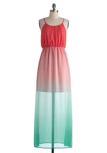 Sunset Sail Dress - Red, Pleats, Casual, Spaghetti Straps, Long, Blue, Maxi, Summer