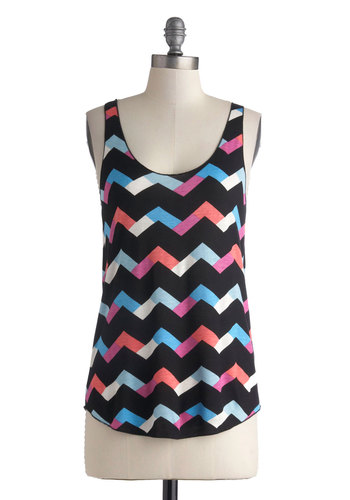 Break for Recess Top - Black, Blue, Pink, Chevron, Casual, Tank top (2 thick straps), Multi, Beach/Resort, Summer, Scoop, Mid-length, Multi, Sleeveless