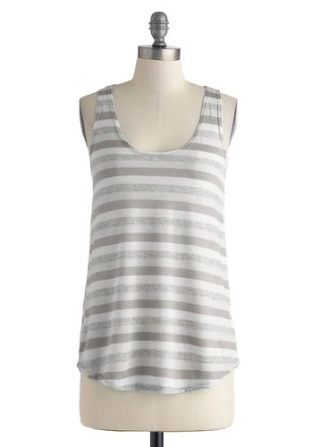 Week by Weekend Top in Grey - Mid-length, Sheer, Grey, White, Stripes, Casual, Sleeveless, Summer