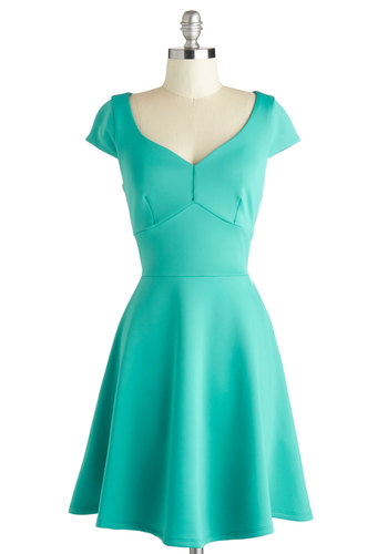Teal Your Heart Dress - Mid-length, Green, Solid, Exposed zipper, Casual, A-line, Cap Sleeves