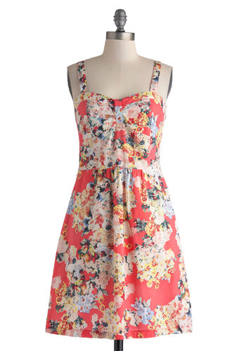 On the Greenhouse Dress - Cotton, Mid-length, Red, Multi, Floral, Casual, A-line, Spaghetti Straps, Sweetheart, Spring, Summer