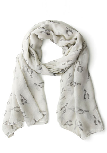Auspicious Well-Wisher Scarf - White, Black, Novelty Print, Sheer