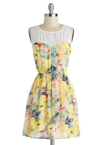 Oh My Garden Dress - Sheer, Short, Floral, Casual, A-line, Sleeveless, Scoop, Yellow, Multi
