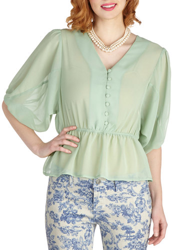 Lovely, Always Top in Sage - Sheer, Mid-length, Mint, Solid, Buttons, Work, Pastel, Short Sleeves, Daytime Party, Vintage Inspired, Variation, V Neck, Green, Short Sleeve