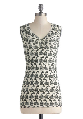 Talking Scents Top - Black, Novelty Print, Cap Sleeves, White, Ruching, Casual, V Neck, Knit, Mid-length, White, Sleeveless