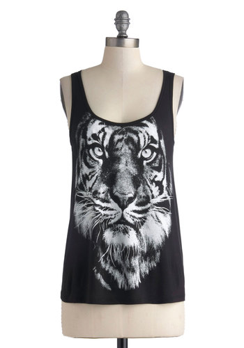 Posh Pouncing Tank - Black, White, Casual, Tank top (2 thick straps), Print with Animals, Summer, Scoop, Mid-length, Urban, Black, Sleeveless, Festival