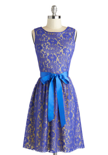 Looking Like a Million Dress in Blue Iris - Mid-length, Blue, Yellow, Lace, Belted, Party, A-line, Sleeveless, Scoop, Wedding, Bridesmaid, Variation, Purple