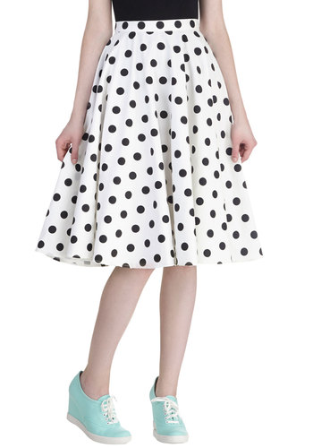 Sway Hello Skirt - Cotton, White, Polka Dots, Daytime Party, Pinup, Vintage Inspired, 50s, Rockabilly, Ballerina / Tutu, White, Long