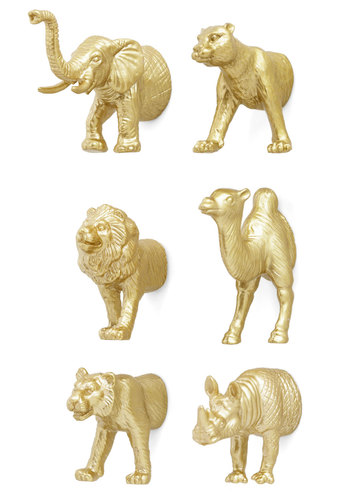 Glitz and Clamor Magnets by Kikkerland - Gold, Solid, Print with Animals, Dorm Decor, Good
