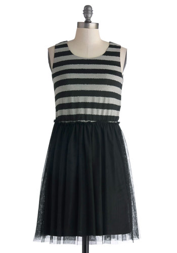 Wednesday Matinee Dress - Mid-length, Black, Grey, Stripes, Party, A-line, Tank top (2 thick straps), Scoop