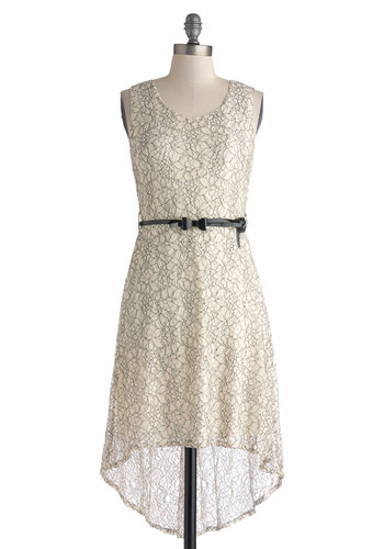 Sketched Exhibit Dress - Mid-length, White, Black, Bows, Lace, Belted, Casual, High-Low Hem, Tank top (2 thick straps), Scoop, Sheer