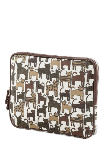 iPaw Tablet Case - Brown, White, Multi, Print with Animals, Trim, Travel, Cats