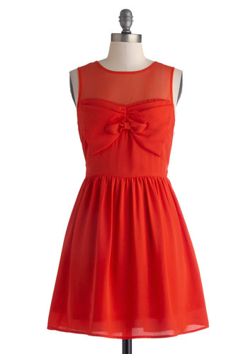Everyday Valentine Dress - Short, Red, Solid, Bows, Party, A-line, Sleeveless, Crew, Wedding, Cocktail, Sheer, Valentine's