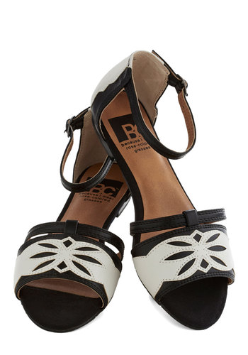 Night and Daydreams Sandal by BC Footwear - Black, Cutout, Flat, Faux Leather, White, Summer