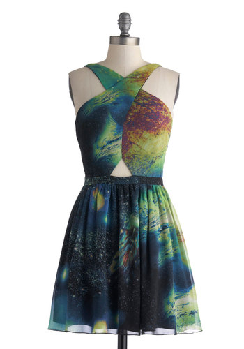 Crisscross the Universe Dress - Short, Green, Multi, Print, Cutout, A-line, Sleeveless, Party, Girls Night Out, Summer
