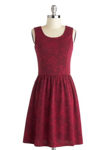 Roses are Rad Dress by Jack by BB Dakota - Mid-length, Red, Floral, Casual, A-line, Tank top (2 thick straps), Scoop