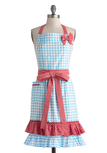 Miss en Place Apron - Blue, Red, White, Polka Dots, Checkered / Gingham, Bows, Ruffles, Vintage Inspired, 50s, Cotton, Pockets, Mid-Century, Better, Press Placement