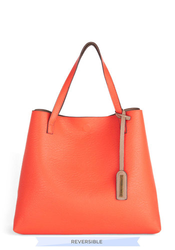Two-Tone to Tango Bag in Coral - Solid, Minimal, Coral, Tan / Cream, Work, Faux Leather, Travel