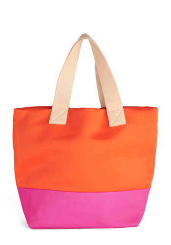 On the Itinerary Bag - Orange, Pink, Tan / Cream, Solid, Casual, Colorblocking, Beach/Resort, Summer