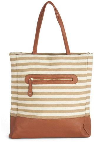 Easygoing Places Bag - Tan, Stripes, Casual, Faux Leather, Tan / Cream, Nautical