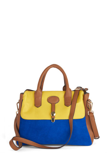 Mural Maven Satchel - Brown, Solid, Colorblocking, Scholastic/Collegiate, Suede, Leather, Yellow, Blue, Work, Faux Leather