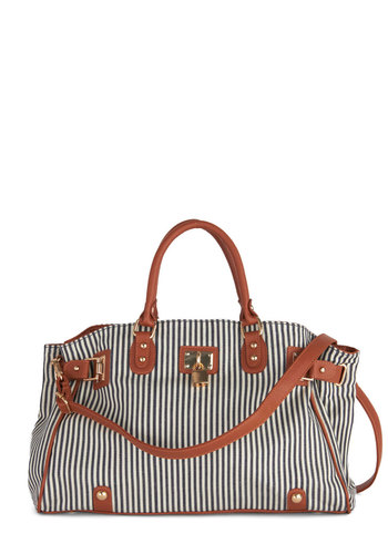 Pierside Appearance Bag - Tan / Cream, Stripes, Nautical, Blue, White, Casual