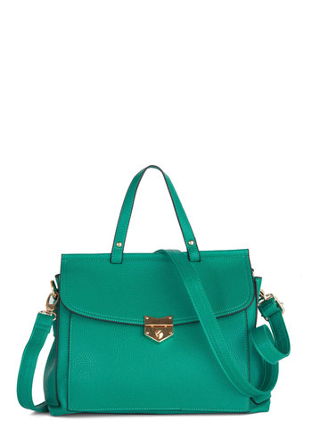 Liquid Daydreams Bag - Gold, Solid, Work, Faux Leather, Green
