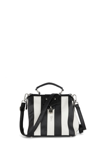 Good Call Bag - Stripes, Black, White, Faux Leather