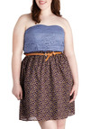 Conservatory Check-In Dress in Plus Size - Cotton, Blue, Multi, Floral, Lace, Belted, Casual, Empire, Strapless, Sweetheart, Summer