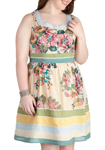 Garden Party Darling Dress in Blue - Plus Size - Cotton, Yellow, Green, Blue, Floral, Trim, Casual, Empire, Sleeveless, Multi, Buttons, Daytime Party, Scoop, Exclusives