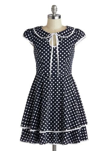 This Must Be the Dot Dress - Mid-length, Blue, White, Polka Dots, Tie Neck, Casual, A-line, Cap Sleeves, Crew, Trim, Daytime Party, Vintage Inspired