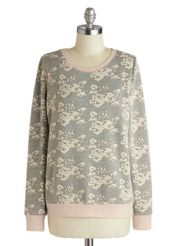 Rosy Reminiscing Sweater by Jack by BB Dakota - Black, Floral, Long Sleeve, Mid-length, Pink, Tan / Cream, Fall, Multi, Multi, Long Sleeve
