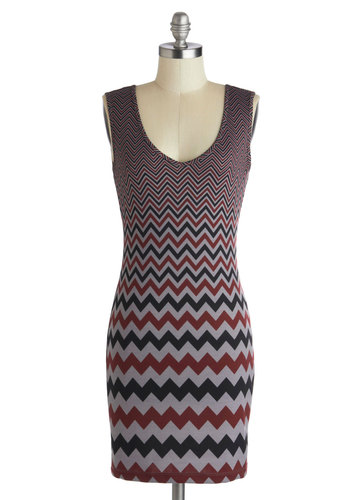 Virtual Realty Dress by Jack by BB Dakota - Short, Grey, Red, Black, Chevron, Cutout, Bodycon / Bandage, Sleeveless, Scoop, Party, Girls Night Out, Mini