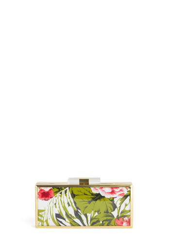 Hibiscus High Tea Clutch - Green, Pink, Multi, Floral, Trim, Gold