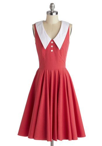 Ready, Set, Showtime! Dress - Red, White, Cotton, Long, Buttons, Casual, A-line, Sleeveless, Collared