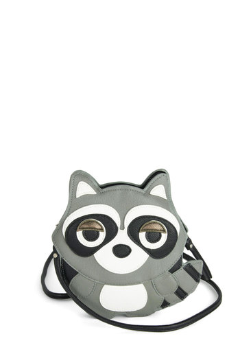 Critter-cal Mass Bag in Raccoon - White, Print with Animals, Quirky, Grey, Black, Halloween