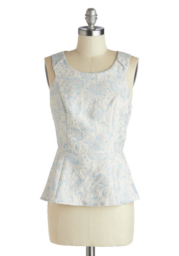 Mind Your Manors Top - Mid-length, Blue, White, Work, French / Victorian, Peplum, Sleeveless, Print, Exposed zipper, Daytime Party, Pastel, Scoop, Gifts Sale, White, Sleeveless